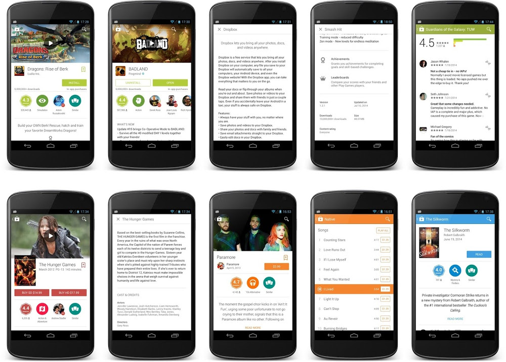Google Play Android L Design