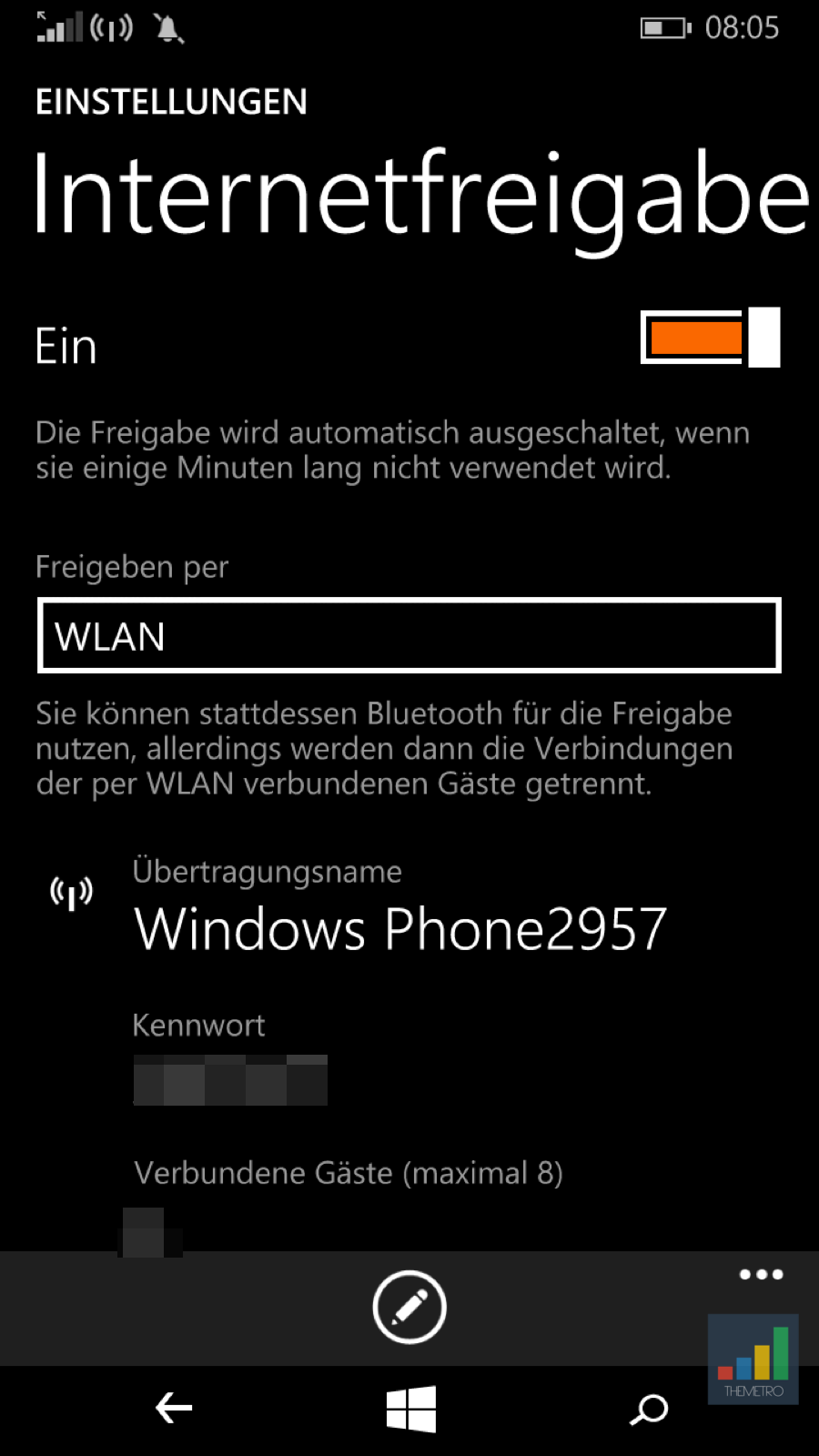 Windows Phone Internetfreigabe